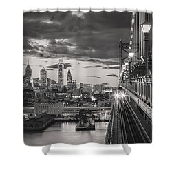 Eastbound Encounter In Black And White Shower Curtain