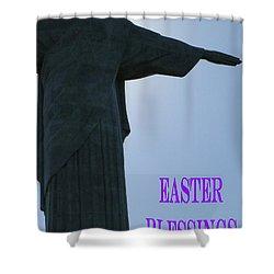 Easter Blessings Card Shower Curtain by Barbie Corbett-Newmin