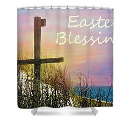 Easter Blessings Cross Shower Curtain