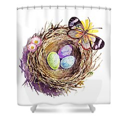 Easter Colors Bird Nest Shower Curtain