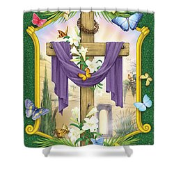 Easter Cross Shower Curtain