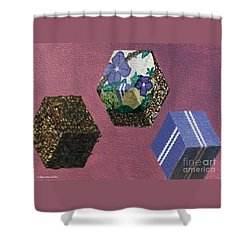 Shower Curtain featuring the painting Easter Cubes - Painting by Megan Dirsa-DuBois
