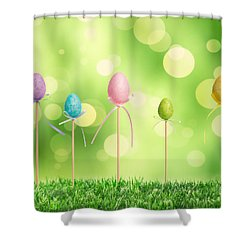 Easter Eggs Shower Curtain by Amanda Elwell