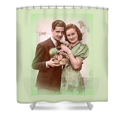 Easter Greetings Retro Style Shower Curtain by The Creative Minds Art and Photography