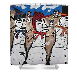 Easter Island Snow Men Shower Curtain by Jeffrey Koss