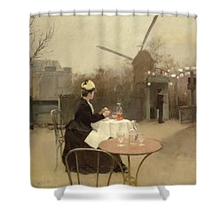 Eating Al Fresco Shower Curtain by Ramon Casas i Carbo
