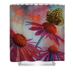 Echinacea Fritillaria Shower Curtain