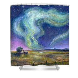 Shower Curtain featuring the painting Echoes In The Sky by Retta Stephenson