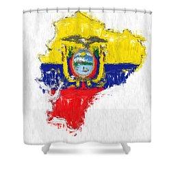 Ecuador Painted Flag Map Shower Curtain by Antony McAulay