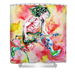 Eddie Van Halen Playing And Jumping Watercolor Portrait Shower Curtain by Fabrizio Cassetta