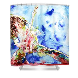 Eddie Van Halen Playing The Guitar.1 Watercolor Portrait Shower Curtain by Fabrizio Cassetta