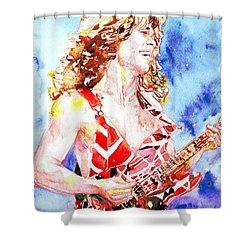 Eddie Van Halen Playing The Guitar.2 Watercolor Portrait Shower Curtain by Fabrizio Cassetta