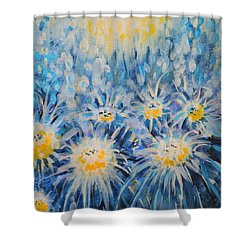Shower Curtain featuring the painting Edentian Garden by Holly Carmichael