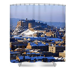 Shower Curtain featuring the photograph Edinburgh Castle Winter by Craig B