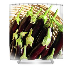 Shower Curtain featuring the photograph Eggplants In A Basket by Tina M Wenger