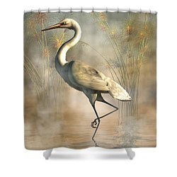 Egret Shower Curtain by Daniel Eskridge