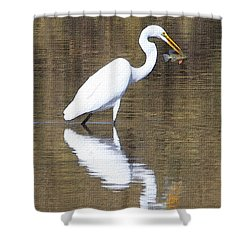 Egret Eats Fish Shower Curtain by Tom Janca