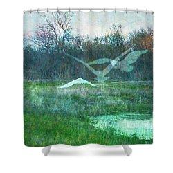 Egret In Retreat Shower Curtain by Lizi Beard-Ward