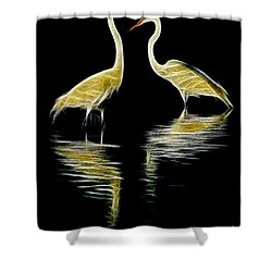 Egret Pair Shower Curtain by Jerry Fornarotto