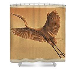 Egret Sepia Shower Curtain by Deborah Benoit