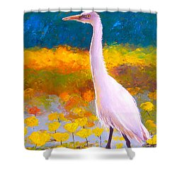 Egret Water Bird Shower Curtain by Jan Matson