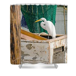 Egret With Fishing Net Shower Curtain by Allen Sheffield