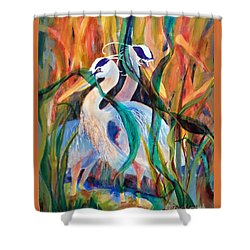 Egrets In Red 2            Shower Curtain by Kathy Braud