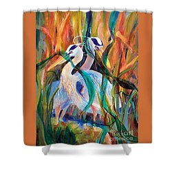 Egrets In Red 2            Shower Curtain