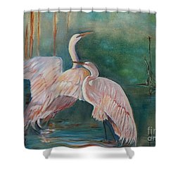 Egrets In The Mist Shower Curtain