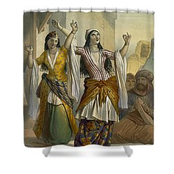Egyptian Dancing Girls Performing Shower Curtain by Emile Prisse d'Avennes
