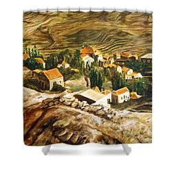 Ehden Lebanon Shower Curtain by Lyndsey Hatchwell