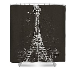 Eiffel Tower Shower Curtain by Aged Pixel