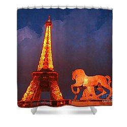 Eiffel Tower And Horse Shower Curtain by John Malone