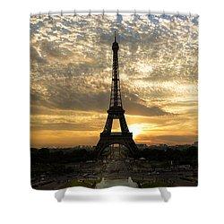 Eiffel Tower At Sunset Shower Curtain by Debra and Dave Vanderlaan