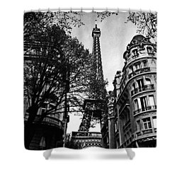 Eiffel Tower Black And White Shower Curtain