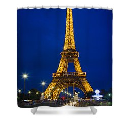 Eiffel Tower By Night Shower Curtain by Inge Johnsson