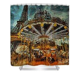 Shower Curtain featuring the painting Eiffel Tower Carousel by Dragica  Micki Fortuna