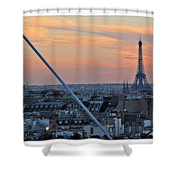 Eiffel Tower From Above Shower Curtain by Joan  Minchak