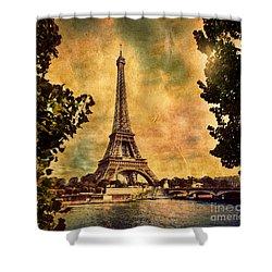 Eiffel Tower In Paris France Shower Curtain by Michal Bednarek