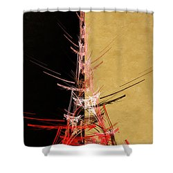 Eiffel Tower In Red On Gold  Abstract  Shower Curtain by Andee Design