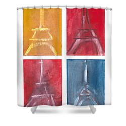 Eiffel Tower Paintings Of 4 Up Shower Curtain by Robyn Saunders