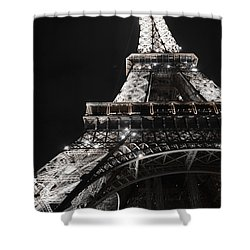 Eiffel Tower Paris France Night Lights Shower Curtain