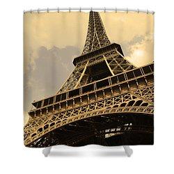 Eiffel Tower Paris France Sepia Shower Curtain by Patricia Awapara