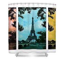 Eiffel Tower Paris France Trio Shower Curtain by Patricia Awapara