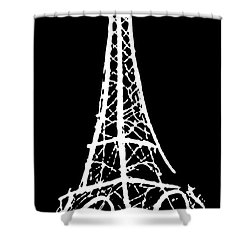 Eiffel Tower Paris France White On Black Shower Curtain