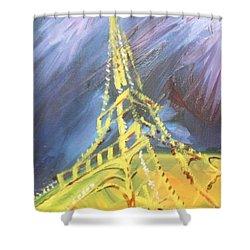 Eiffel Tower Paris Night Shower Curtain by PainterArtist FIN