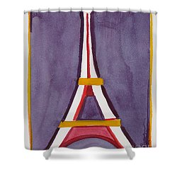 Eiffel Tower Purple Red Shower Curtain