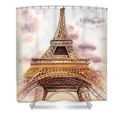 Shower Curtain featuring the painting Eiffel Tower Vintage Art by Irina Sztukowski