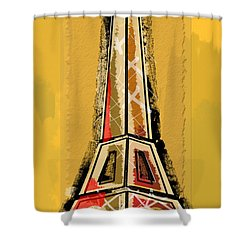 Eiffel Tower Yellow And Red Shower Curtain by Robyn Saunders