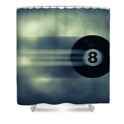 Eight Ball In Motion Shower Curtain by Bob Orsillo